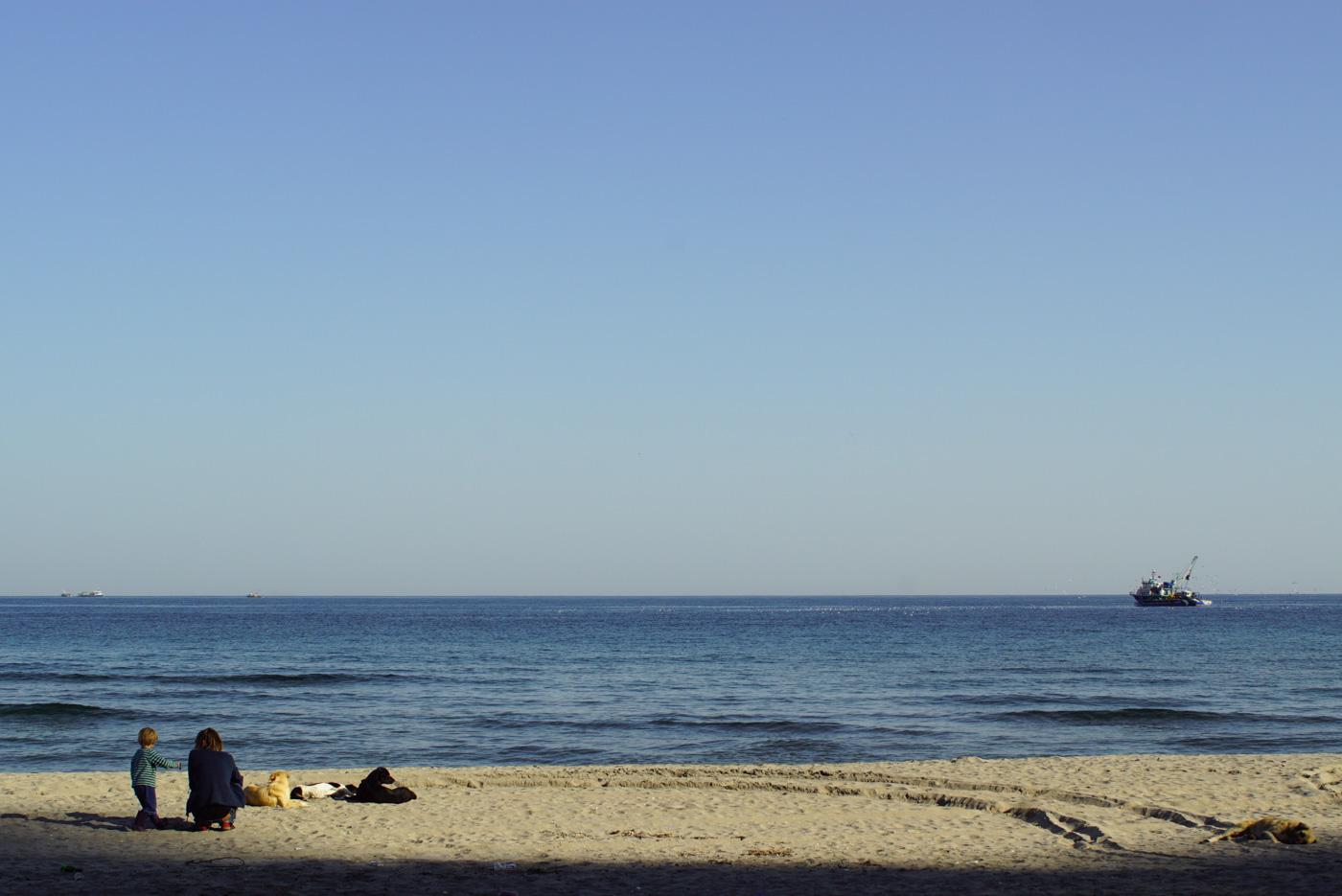Luk steht neben Paul der in der Hocke sitzt und sie schauen aufs Meer. Neben ihnen liegen drei Hunde im Sand. Dahinter zeichnet sich das ruhige Schwarze Meer rechts am Bildrand fährt ein Fischkutter.