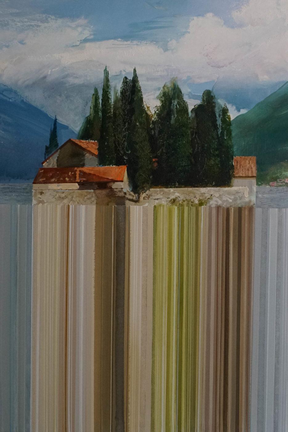 Ein Gemälde auf dem im oberen Drittel die Klosterinsel Sveti Dorde zu deutsch heiliger Georg zu sehen ist. In den zwei unteren Dritteln