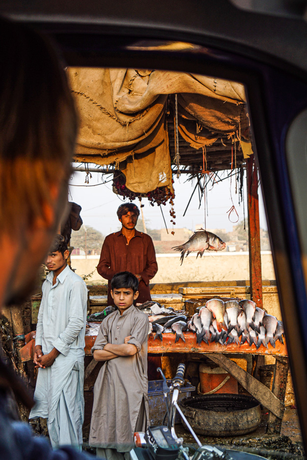 Das Foto wurde aus dem Auto heraus gemacht. Im Vordergrund ist Paul verschwommen zu sehen wie er aus dem Fenster blickt. Dahinter ist ein Fisch Stand zu sehen und drei Jungen blicken in die Kamera. Auf dem Stand liegen große frische Fische und einer hängt an einer Schnur von dem Dach des Ladens.